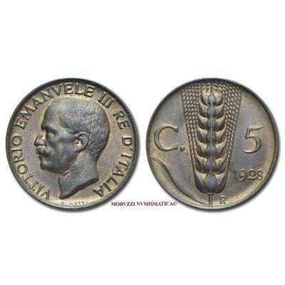 Emissione: 1928, Zecca di Roma, Rif. bibl. Pagani, 907; Metallo: CU, gr. 3,27, (MI120280), Diam.: mm. 19,53, FDC