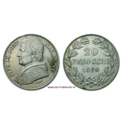 Stato Pontificio, PIO IX, 20 BAIOCCHI, 1860 AN XV, zecca di Roma, ARGENTO, SPL, (Pagani 417) / Pope Pius IX Mastai Ferretti SILVER coins (monete papali - monete pontificie - moneta papale d'argento) Silbermünzen von Papst Pius IX.