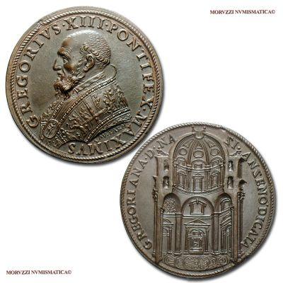 Costruzione della Cappella Gregoriana in San Pietro, Emissione: 1583, Opus Lorenzo Fragni, Rif. bibl. Modesti, 793; Metallo: AE, gr. 21,39, (MP141241), Diam.: mm. 38,63, qFDC, (RR)  Ex Numismatica Picena Asta 10 n. 128; ex Asta Varesi 60 n. 1521.