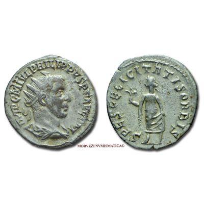 FILIPPO I L'ARABO, 244-249 d.C., ANTONINIANO, Emissione: 244-249 d.C., Zecca di Antiochia (Siria), Rif. bibl. R.I.C., 70/S; Cohen, 221/Fr.5; Metallo: AR, gr. 3,74, (MR24703), Diam.: mm. 21,11, mBB, (R)