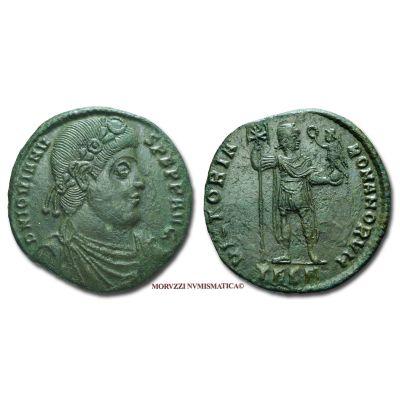 GIOVIANO, 363-364 d.C., MAIORINA, Emissione: 363-364 d.C., Zecca di Tessalonica, Rif. bibl. R.I.C., 235/S; Cohen, 23/Fr.8; Metallo: AE, gr. 8,77, (MR26864), Diam.: mm. 26,68, qSPL, (R)  Ex Ponterio (14-15/01/05) n. 1; ex Busso Peus 395 n. 389.