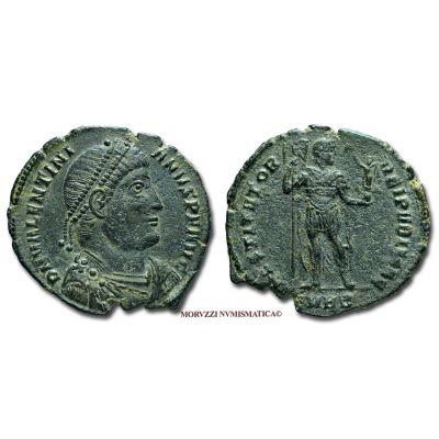 VALENTINIANO I, 364-375 d.C., DOPPIA MAIORINA, Emissione: 364-367 d.C., Zecca di Eraclea, Rif. bibl. R.I.C., 22/R4; Cohen, 30/Fr.40; Metallo: AE, gr. 8,40, (MR26866), Diam.: mm. 28,76, mBB, (RR)  Ex Lanz 141 n. 828.