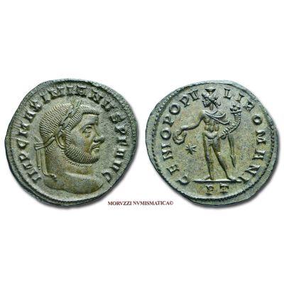 MASSIMIANO ERCULEO, 286-310 d.C., FOLLIS, Emissione: 296-297 d.C., Zecca di Ticinum, Rif. bibl. R.I.C., 31b; Cohen, 179; Metallo: AE, gr. 9,47, (MR26915), Diam.: mm. 27,63, SPL