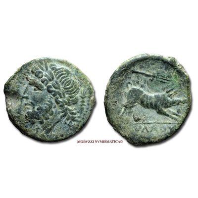 ARPI, BRONZO, Emissione: III secolo a.C., Zecca di Arpi, Rif. bibl. Cfr. SNG Dan., 604; Metallo: AE, gr. 5,81, (MG39840), Diam.: mm. 22,20, mBB