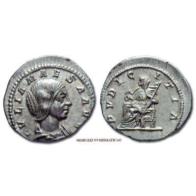 GIULIA MESA, 218-222 d.C., DENARIO, Emissione: 218-222 d.C., Zecca di Roma, Sorella di Giulia Domna, Rif. bibl. R.I.C., 221a/S; Cohen, 36; Metallo: AR, gr. 2,84, (MR8521), Diam.: mm. 19,20, SPL, (R)