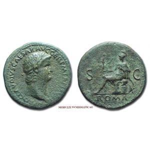 NERONE, SESTERZIO, 65 d.C., ROMA / S C, zecca di Roma, qBB (RIC 281) / NERO SESTERTIUS (monete romane imperiali antiche di bronzo - moneta romana imperiale antica - Impero Romano)