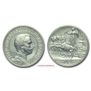 Regno d'Italia, VITTORIO EMANUELE III, 2 LIRE, 1908, Quadriga veloce, zecca di Roma, ARGENTO, qFDC, (Pagani 732) / monete italiane d'argento
