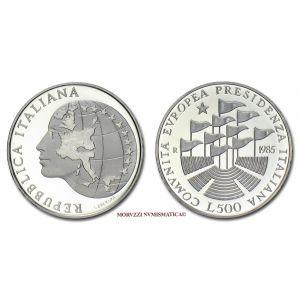Repubblica Italiana, 500 LIRE, 1985, Presidenza C.E.E. (Comunità Economica Europea / CEE), ARGENTO, FS / PROOF, (Unificato 1515) / monete italiane d'argento