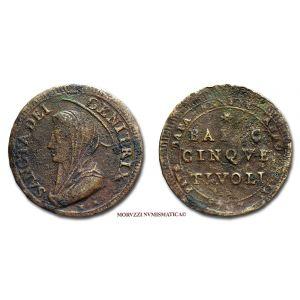 Stato Pontificio, PIO VI, 5 BAIOCCHI, 1797, Tivoli, qBB, (RR), (Muntoni 423) / Pope Pius VI Braschi PAPAL COINS (monete papali - monete pontificie) Papst Pius VI. - Pape Pie VI - Pío VI