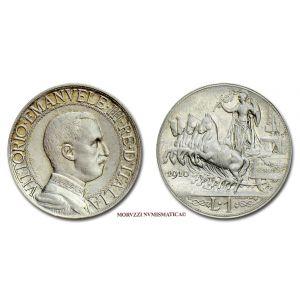 Regno d'Italia, VITTORIO EMANUELE III, 1 LIRA, 1910, Quadriga veloce, zecca di Roma, ARGENTO, qFDC, (Pagani 770) / monete italiane d'argento