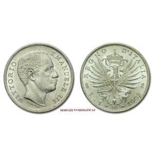 Regno d'Italia, VITTORIO EMANUELE III, 1 LIRA, 1902, Aquila sabauda, zecca di Roma, ARGENTO, FDC, (Pagani 764) / monete italiane d'argento