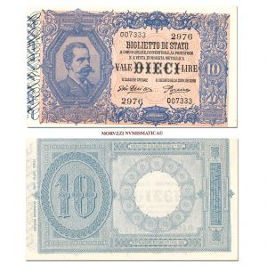 Italia, Vittorio Emanuele III, BIGLIETTO DI STATO, LIRE 10, 22.02.1922