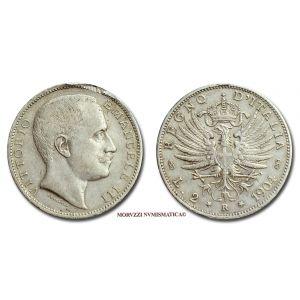 Regno d'Italia, VITTORIO EMANUELE III, 2 LIRE, 1904, Aquila Sabauda, zecca di Roma, ARGENTO, MB, (R), (Pagani 728) / monete italiane d'argento