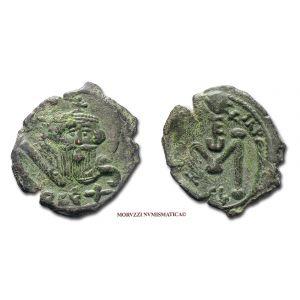 COSTANTE II, FOLLIS, 641-668 d.C., monogramma / grande M / SCL, zecca di Siracusa, SPL, (Sear 1107) / Constans II BRONZE ancient Byzantine coins (monete bizantine antiche di bronzo - moneta bizantina antica da collezione - Impero Bizantino)