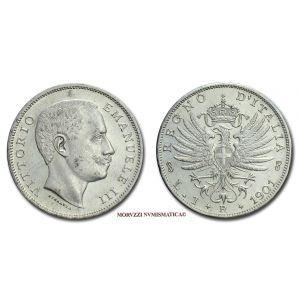 Regno d'Italia, VITTORIO EMANUELE III, 1 LIRA, 1901, Aquila Sabauda, zecca di Roma, ARGENTO, qFDC, (Pagani 763) / monete italiane d'argento