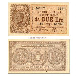 Regno d'Italia, Vittorio Emanuele III, BUONO DI CASSA DA 2 LIRE, 14.03.1920, Firme: Dell'Ara, Porena, qFDS, (NC), (Crapanzano BS 13) / banconote italiane (cartamoneta italiana)