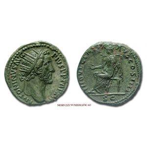 ANTONINO PIO, DUPONDIO, 152-153 d.C., INDVLGENTIA AVG COS IIII, S C, (RIC 907)