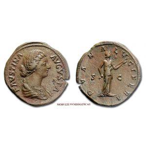 FAUSTINA II, SESTERZIO, 161-180 d.C., DIANA LVCIFERA, S C, (RIC 630)