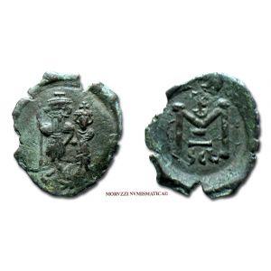 COSTANTE II, FOLLIS, 641-668 d.C., TKω / grande M / SCL, zecca di Sicilia, mBB, (Sear 1109) / Constans II BRONZE ancient Byzantine coins (monete bizantine antiche di bronzo - moneta bizantina antica da collezione - Impero Bizantino)