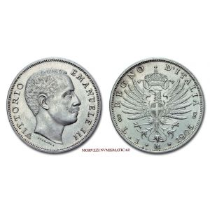 Regno d'Italia, VITTORIO EMANUELE III, 1 LIRA, 1905, Aquila Sabauda, zecca di Roma, ARGENTO, qFDC, (RR), (Pagani 765) / monete italiane d'argento