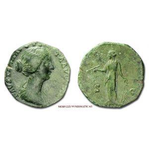 FAUSTINA II, DUPONDIO, 161 d.C., S C, Diana, (Cfr. RIC 1405c)