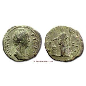 FAUSTINA I, ASSE, dopo il 141 d.C., CONSECRATIO, S C, Vesta, (RIC 1187/S)