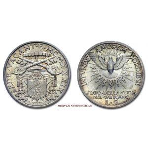 Stato Pontificio, SEDE VACANTE 1939, 5 LIRE, Camerlengo Card. Eugenio Pacelli, (Pagani 703)