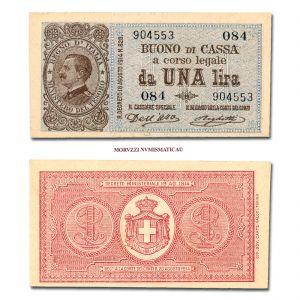 Regno d'Italia, Vittorio Emanuele III, BUONO DI CASSA DA 1 LIRA, 02.09.1914, Firme: Dell'Ara, Righetti, FDS, (Crapanzano BS 3) / banconote italiane (cartamoneta italiana)