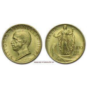 Regno d'Italia, VITTORIO EMANUELE III, 100 LIRE, 1931 IX, Italia su prora, zecca di Roma, ORO, FDC, (Pagani 646) / monete italiane moderne d'oro (moneta italiana moderna - Casa Savoia)