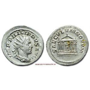 FILIPPO I L'ARABO, 244-249 d.C., ANTONINIANO COMMEMORATIVO DEL MILLENNIO DI ROMA, Emissione: 248 d.C., Zecca di Roma, Rif. bibl. R.I.C., 25b; Cohen, 198; Metallo: AR, gr. 3,66, (MR141611), Diam.: mm. 23,18, SPL, (NC)  Ex Numismatik Naumann 105 n. 69.