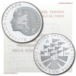 Italia, REPUBBLICA, 500 LIRE, 1985, Presidenza C.E.E., ARGENTO