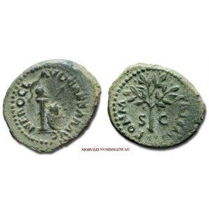 NERONE, 54-68 d.C., QUADRANTE, Emissione: 54-68 d.C., Zecca di Roma, Rif. bibl. cfr. R.I.C., 250; Cohen, 188 var.; Metallo: AE, gr. 2,30, (MR25463), Diam.: mm. 16,68, qSPL, (R)