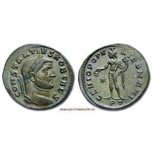 COSTANZO I CLORO, Cesare, 305-306 d.C. d.C., FOLLIS, Emissione: 296-297 d.C., Zecca di Ticinum, Rif. bibl. R.I.C., 32a; Cohen, 107; Metallo: AE, gr. 9,97, (MR26907), Diam.: mm. 28,27, qFDC