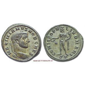GALERIO MASSIMIANO, Cesare, 293-311 d.C., FOLLIS, Emissione: 296-297 d.C., Zecca di Ticinum, Rif. bibl. R.I.C., 32b; Cohen, manca; Metallo: AE, gr. 10,32, (MR26921), Diam.: mm. 27,55, SPL