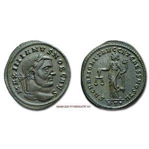 GALERIO MASSIMIANO, Cesare, 293-311 d.C., FOLLIS, Emissione: 300-303 d.C., Zecca di Ticinum, Rif. bibl. R.I.C., 44b; Cfr. Cohen, 503; Metallo: AE, gr. 8,28, (MR26931), Diam.: mm. 26,44, qSPL