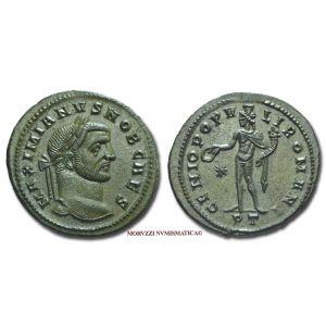 GALERIO MASSIMIANO, Cesare, 293-311 d.C., FOLLIS, Emissione: 296-297 d.C., Zecca di Ticinum, Rif. bibl. R.I.C., 32b; Cohen, manca; Metallo: AE, gr. 10,59, (MR26928), Diam.: mm. 28,05, SPL