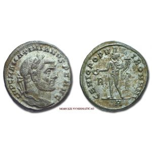 MASSIMIANO ERCULEO, 286-310 d.C., FOLLIS, Emissione: 296-297 d.C., Zecca di Roma, Rif. bibl. R.I.C., 63/R; Cohen, 192; Metallo: AE, gr. 9,64, (MR26929), Diam.: mm. 25,59, SPL, (RR)
