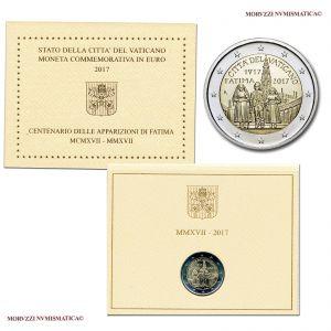 Città del Vaticano, 2 euro 2017 FDC, 100º anniversario delle apparizioni della Madonna di Fátima / monete vaticane di Papa Francesco (2 EUROS BU - 2€ commemorative coins -