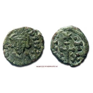 COSTANTE II, 20 NUMMI, 647-659 d.C., C/X - T/ X con al centro una croce e in alto una stella tra 2 globetti, zecca di Cartagine, mBB, (Sear 1059) / Constans II BRONZE coins (monete bizantine antiche di bronzo - moneta bizantina antica - Impero Bizantino)