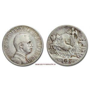 Regno d'Italia, VITTORIO EMANUELE III, 2 LIRE, 1912, Quadriga veloce, zecca di Roma, ARGENTO, BB, (Pagani 735) / monete italiane d'argento