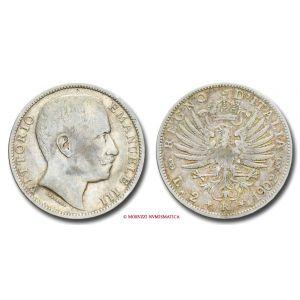 Regno d'Italia, VITTORIO EMANUELE III, 2 LIRE, 1902, Aquila Sabauda, zecca di Roma, ARGENTO, BB, (R), (Pagani 726) / monete italiane d'argento