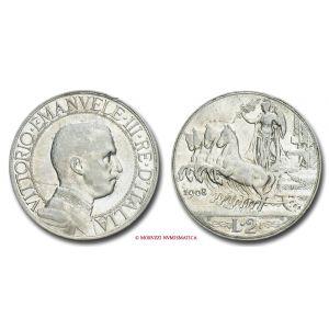 Regno d'Italia, VITTORIO EMANUELE III, 2 LIRE, 1908, Quadriga veloce, zecca di Roma, ARGENTO, mBB, (Pagani 732) / monete italiane d'argento