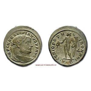 MASSIMIANO ERCULEO, FOLLIS, 302-303 d.C. circa, GENIO POPVLI ROMANI / #G# / T S, Tessalonica, mBB, (RIC 25b) / Maximian BRONZE Roman Imperial coins (monete romane imperiali di bronzo - Impero Romano) Maximianus Herculius - Maximien Hercule - BRONCE