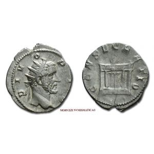 DIVO ANTONINO PIO, ANTONINIANO, 250-251 d.C. ?, CONSECRATIO, Altare acceso, Mediolanum, ARGENTO, mBB, (R), (RIC 90/S) / ANTONINUS PIUS SILVER ANTONINIANUS Roman Imperial coins (monete romane imperiali d'argento) - ANTONINIAN - Antonin le Pieux ANTONINIEN