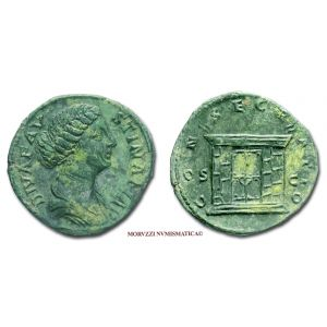FAUSTINA II, SESTERZIO, 176-180 d.C., CONSECRATIO / S C grande altare con porta, zecca di Roma, qSPL, (R), (RIC 1706/S) / FAUSTINA MINORE (Junior) SESTERTIUS ancient coins (monete romane imperiali antiche di bronzo - moneta romana antica - Impero Romano)