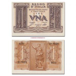 Italia, Vittorio Emanuele III, BIGLIETTO DI STATO, LIRA, 14.11.1939