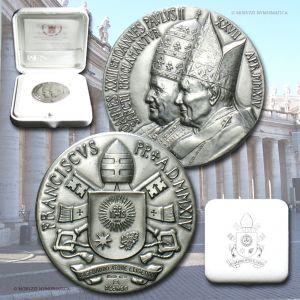 Città del Vaticano, FRANCESCO, MEDAGLIA STRAORDINARIA, AR, 2014, FDC / Pope Francis Bergoglio SILVER MEDALS (medaglie papali d'argento da collezione - medaglie pontificie straordinarie)